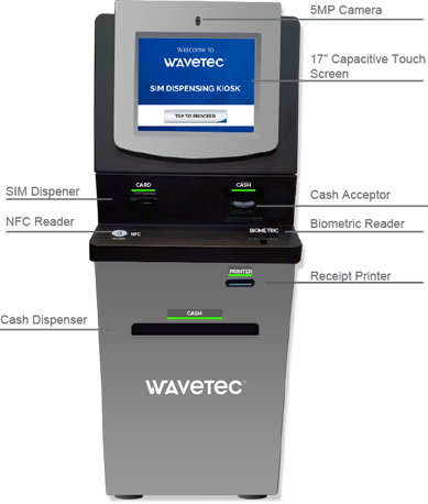sim dispenser kiosk kiosks wavetec self service