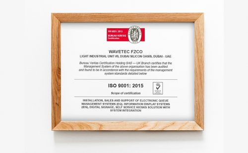 Certified! Wavetec maintains its quality standards, achieves ISO 9001:2015 certification